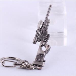 1 PC Mini Military AWM Sniper Weapon Gun Model Metal Pendant Keychain Key Ring