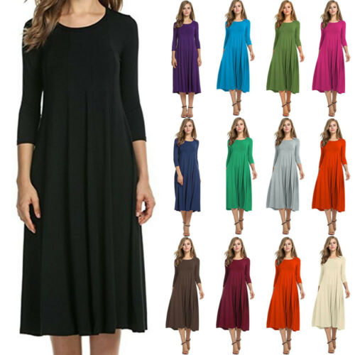 Damen Sommerkleid Shirtkleid LangKleid Freizeitkleid 3 4 A rm Kleid  Skaterkleid  4a1d790a6e