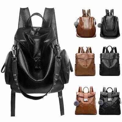 Women's Vintage Leather Satchel Shoulder Backpack Travel School Bag Rucksack