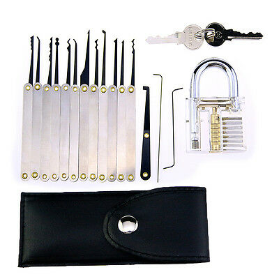16pcs Clear Practice Lock Pick Tool Kit Padlock Locksmith Training Unlocking Set