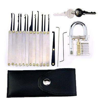 16pcs Training Lock Set Locksmith Practice Tools Set clear transparent padlock