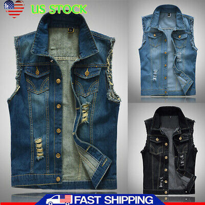 Men's Wacky Jeans Classic Denim Jean Vest Distressed Causal Jacket Biker Outwear