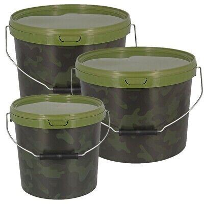 3 x Camo Bait Bucket Metal Handle 1x 5L 2x 10L CARP FISHING BOILIES GROUND BAIT