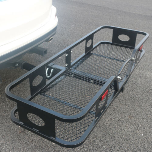 """60/"""" Steel Folding Hitch-Mount Cargo Carrier Mounted Basket Luggage Rack Portable"""