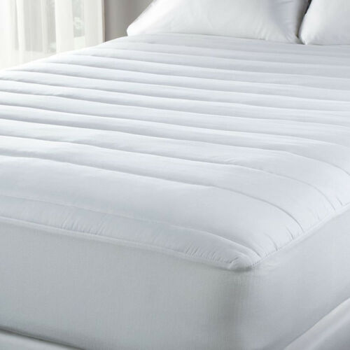 """Fitted Mattress Pad 15"""" Deep 100% Cotton Cover - Polyester F"""