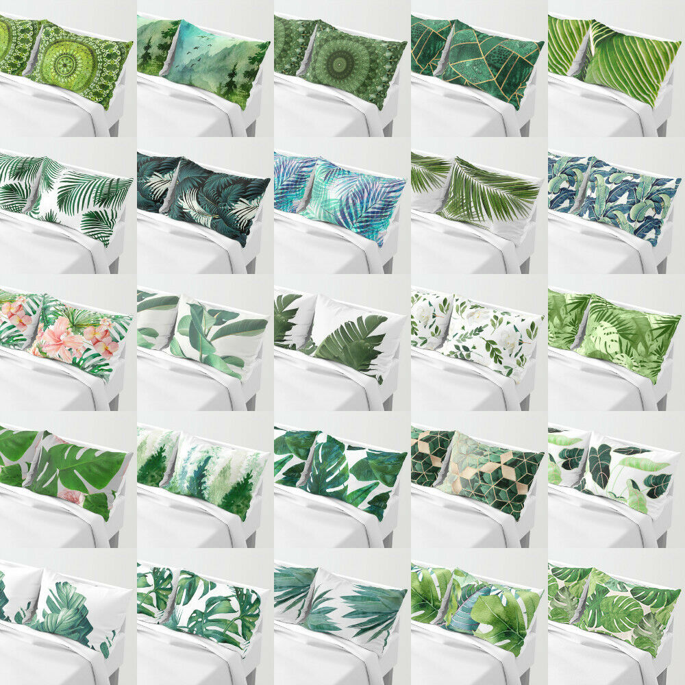 Green Leaves Polyester Pillows Shame case cushion Cover For