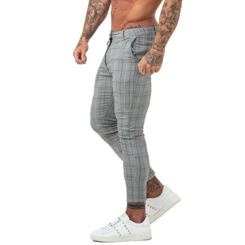 Gingtto Mens Skinny Fit Chino Stretch Slim Gray Tartan Check Chinos Golf Pants