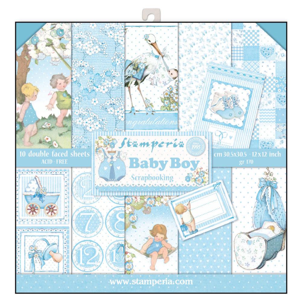 1 Set Scrapbooking Papier 30 x 30 cm SBBL40 Baby boy
