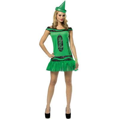 GREEN CRAYOLA DRESS COSTUME EMERALD CRAYON WOMENS LADIES FANCY DRESS - Green Crayon Kostüm