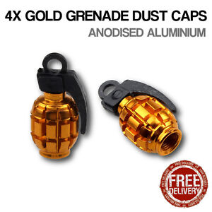 4x Gold Grenade Car Bike Motorcycle BMX Wheel Tyre Valve Metal Dust Caps Dusties