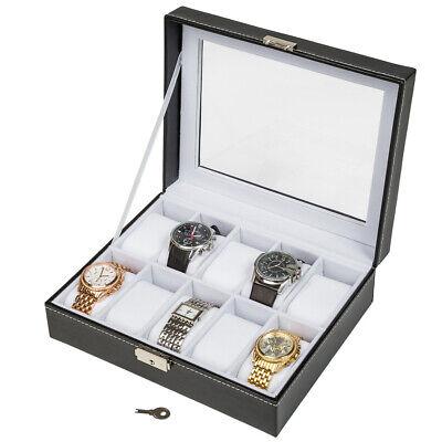 Caja Guarda con Llave 10 Relojes Estuche Tapa Cristal Interior Blanco Terciopelo
