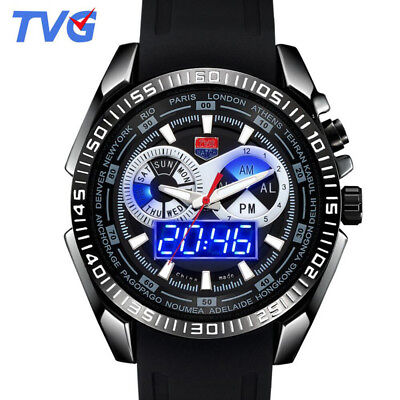 Brand Tvg Men Sports Silicone Watches Blue Binary Led Dual Display Quartz Watch