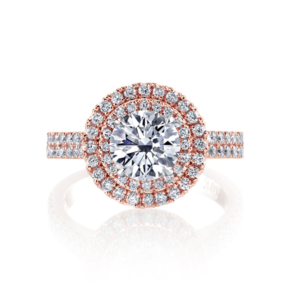 2.00ctw Natural Round Double Halo 2 Row Pave Diamond Engagement Ring - GIA  1