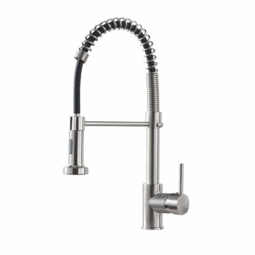 Kitchen Faucet Sink Pull Down Sprayer Single Lever Spring Brushed Nickel Swive