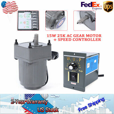 110v15w 25k Ac Gear Motor Electric Variable Speed Reduction Controller Us Ship