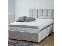 4ft6 Double divan bed in crushed velvet silver with headboard and mattress