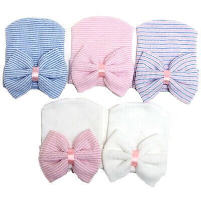 Baby Girl Boy Infant Child Striped Soft Hat With Bow Hospital Newborn Beanie Cap
