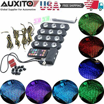 4Pcs Car Interior LED Colorful Atmosphere Ambient Star Foot Laser Light Lamp USB