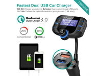 Bluetooth 4.2 FM Transmitter, Quick Charge 3.0 and Smart 2.4A Dual USB Car Charger,Handsfree Calling