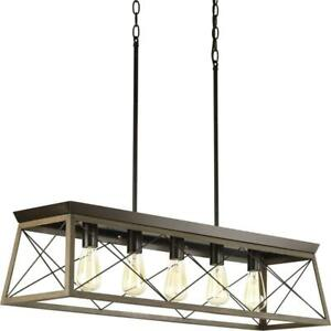 Progress Lighting P400048-020 Briarwood Five-Light Linear Chandelier, Antique Bronze Condtion: Excellent Condition. L...