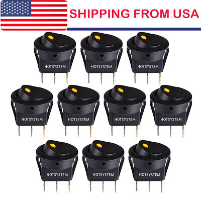 10 Rocker Switches 12v Round Toggle On Off 12v Car Snap In Switch Us 2021