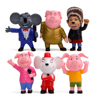 6 PCS Sing Movie Cartoon Buster Moon Rosita Mike Action Figure Kid Gift Doll Toy (Doll Movi)