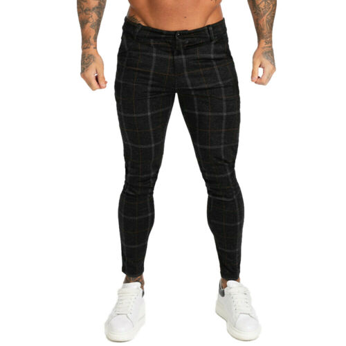 Gingtto Men Stretch Skinny Slim Fit Chino Flat Front Casual Black Spandex Pants