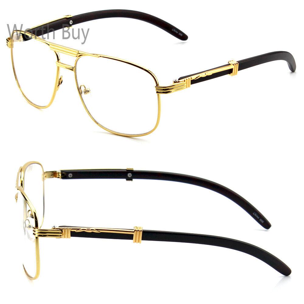 b41112d7ab7b Mens Women Pilot Clear Lens Fashion Eye Glasses Retro RX Gold Wood Frame  Hipster