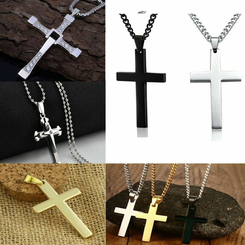 Cross Pendant Necklace Silver Stainless Steel Unisex's Chain