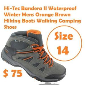 Size 14 Hi-Tec Bandera II Waterproof Winter Mens Orange Brown Hiking Boots Walking Camping Shoes