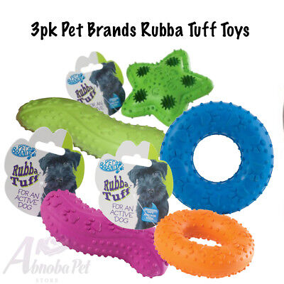 3pk Pet Brands Tough Dog Rubba Tuff Toy Different textures encourage exploration
