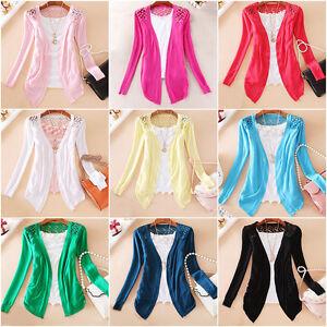 Women-Lace-Sweet-Candy-Crochet-Knit-Blouse-Top-Jacket-Sweater-Cardigan-Shirt-Z01