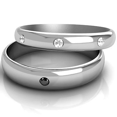 Matching Wedding Rings His and Hers Black & White Diamond Set Bands White Gold (Black Gold And White Wedding)