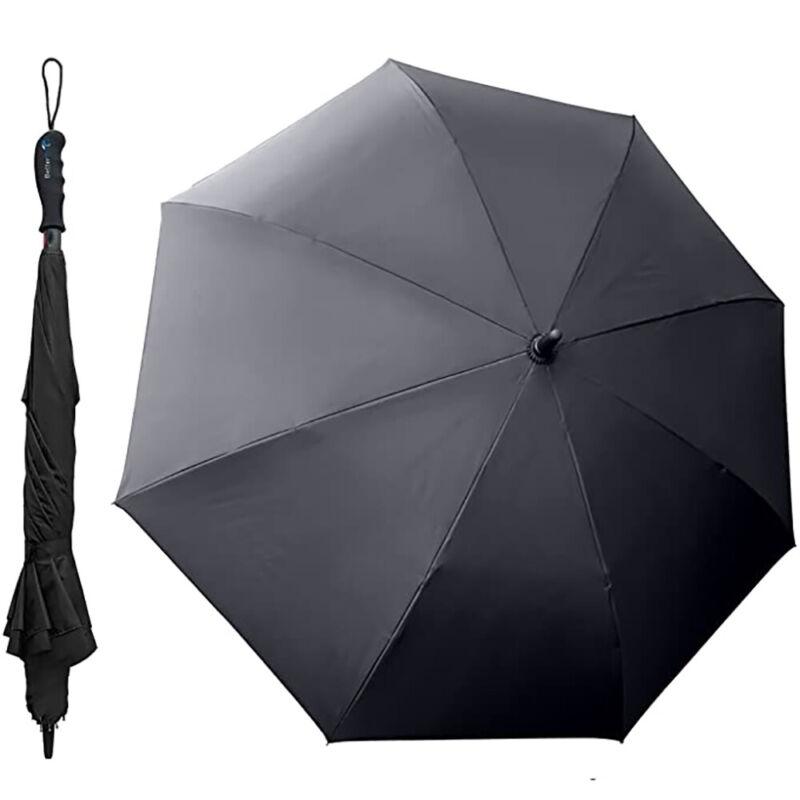 "BetterBrella Innovative Wind Proof Reverse Open/Close 41.5"" Wide Umbrella, Black"