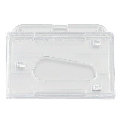 Horizontal Hard Clear Plastic Id Card Badge Holder Thumb For Reel Lanyard Sl2