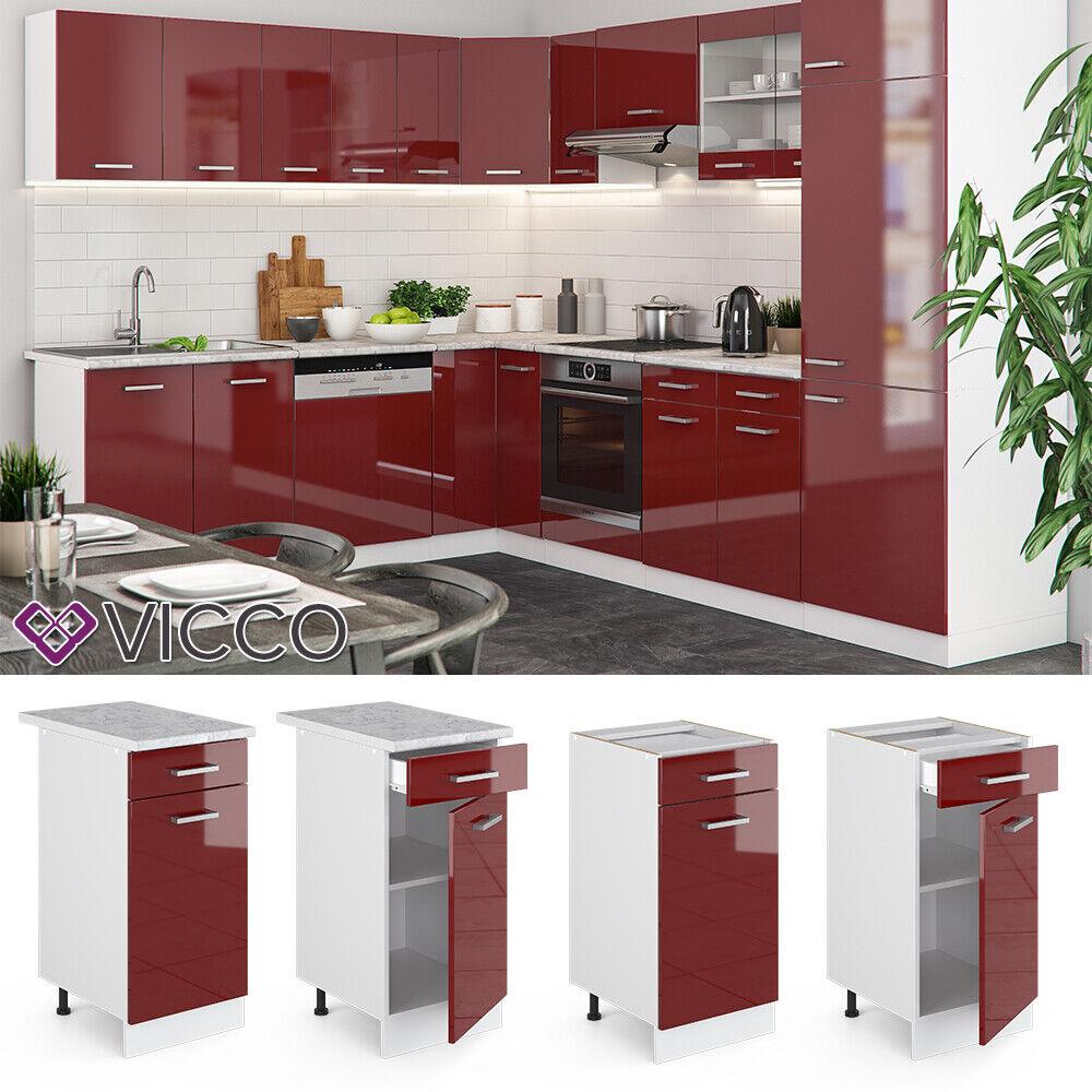 VICCO Küchenschrank Hängeschrank Unterschrank Küchenzeile R-Line Schubunterschrank 40 cm bordeaux