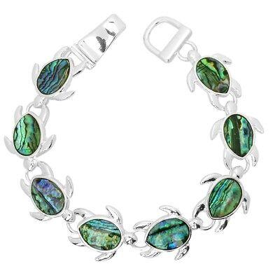 (Magnetic Turtle Bracelet Bangle Abalone Shell Sea Life Jewelry Starfish SILVER)