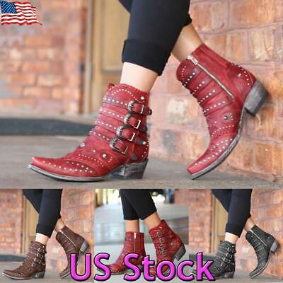 Cowgirl Heel Boots (Women Cowboy Cowgirls Ankle Boots Studs Rivet Low Heel Ladies Western Shoes)
