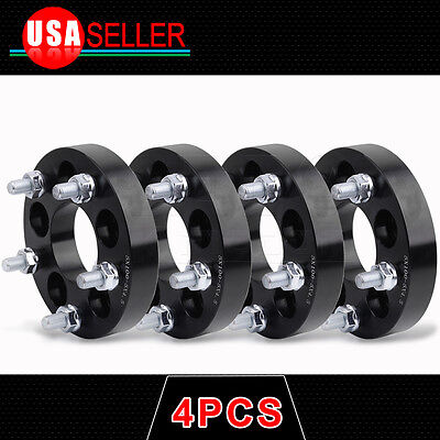 """4X 5x100 to 5x114.3 1"""" Thick Wheel Spacers Adapters 12x1.5 Thread 5x4.5 Black"""
