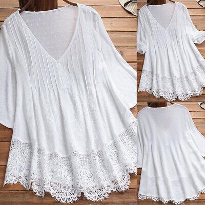 Patchwork-t-shirt Top (Damen Freizeitshirt Spitze Patchwork T-Shirt Sommer Top Oberteile Tunika Kurzarm)