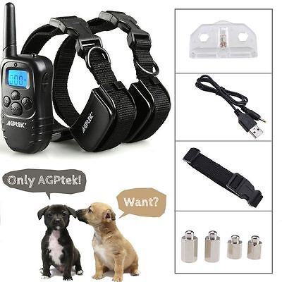 AGPtek® Recharge Waterproof LCD 100LV Shock Vibra Remote 2 Dog Training Collar