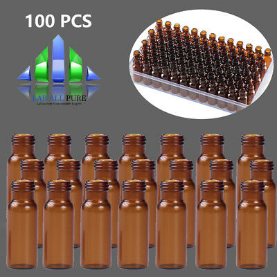 100pcs 2ml Sample Vial Screw Top Amber 9-425 Glass Bottle Vials Only Hplc Gc Lab