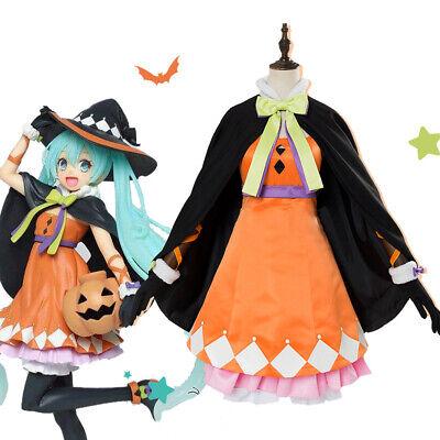 Vocaloid Hatsune Miku Halloween Cosplay Costume Dress + Hat Outfit Full Set (Hatsune Miku Halloween-kostüm)