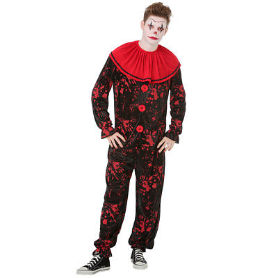 Crimson Clown Mens Halloween Costume | Black/Red Scary Jester Outfit](Halloween Clown Outfit)