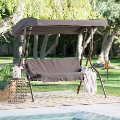 (Brown Canopy Two Person Seat Patio Swing Outdoor Home Leisure Furniture Garden)