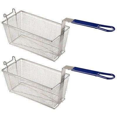 2pcs 13x6x6 Deep Fryer Basket W Handle Commercial Restaurant Kitchen Chip Fish