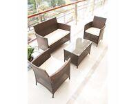 SALE!! Brown 4-Piece Rattan Cube Garden Furniture Set