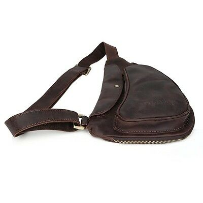 Men/'s Real Leather Sling Bag Sports Small Shoulder Pouch Pack Cross Body  Brown