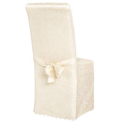 Stuhlhusse Stuhlüberzug Stuhlbezug Stuhl Hussen Bezug mit Muster Hochzeit beige