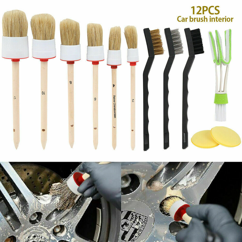 12pcs Car Detailing Brush Kit Boar Hair Vehicle Auto Wheel Clean Brush Set Automotive Care & Detailing